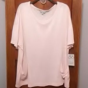 ❤️Nwt pretty Blush pink & gold metallic Top 2X